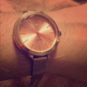 Charming Charlie Rose Colored Metallic Watch
